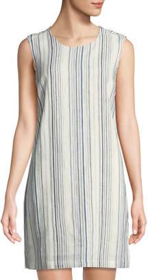 9fce36a08b Neiman Marcus Tie-Back Striped Linen Tunic Dress