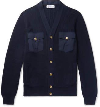 Brunello Cucinelli Poplin-Panelled Ribbed Cotton Cardigan