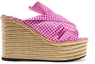 No.21 No. 21 Knotted Gingham Twill Espadrille Wedge Sandals - Fuchsia