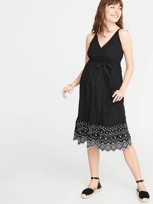 423ae3c8effe4 Old Navy Maternity Wrap-Front Cutwork Midi Dress