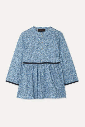 Hatch The Eleanor Floral-print Cotton-jacquard Blouse - Blue
