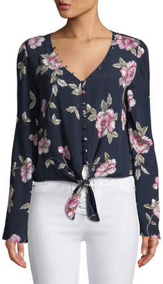 Cupcakes And Cashmere Jerome Floral Button-Front Top