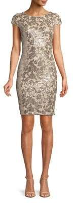Calvin Klein Cap-Sleeve Sequin Sheath Dress
