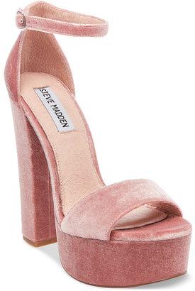 Steve Madden Women's Gonzo-V Velvet Platform Sandals $99 thestylecure.com