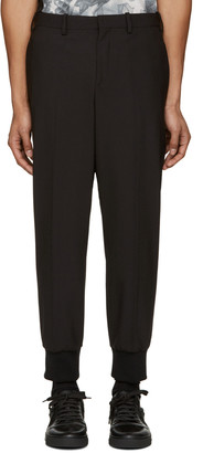 Neil Barrett Black Ribbed Cuffs Trousers $425 thestylecure.com