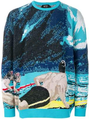 No.21 surf scene knitted sweater