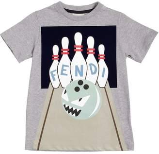 Fendi Flocked Print Cotton Jersey T-Shirt