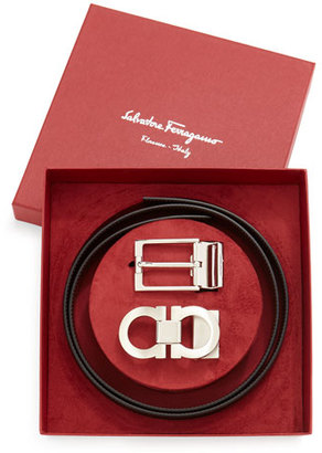 Salvatore Ferragamo Reversible Leather Belt Boxed Gift Set, Black/Brown $495 thestylecure.com