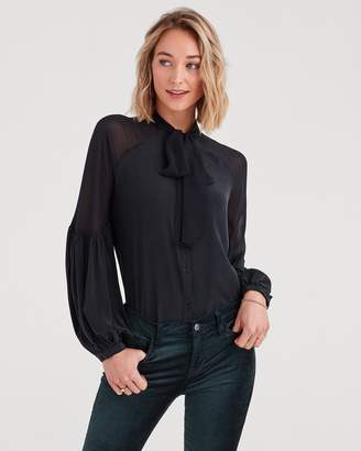 7 For All Mankind Bow Tie Blouson Top in Jet Black