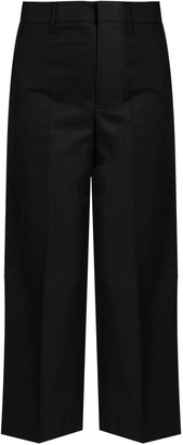 VINCE Wide-leg cropped cotton-sateen trousers $295 thestylecure.com