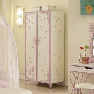 Acme Priya II Armoire, White and Light Purple