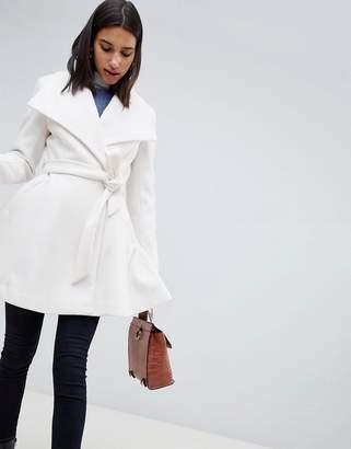 Asos Design DESIGN waterfall collar coat with tie belt