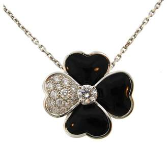 Van Cleef & Arpels Cosmos 18K White Gold Onyx Diamond Pendant Necklace Clip Pin Brooch