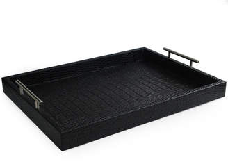 Jay Import Co Alligator-Embossed Faux-Leather Serving Tray w/ Handles