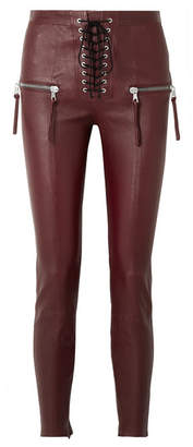 Unravel Project - Lace-up Leather Skinny Pants - Burgundy