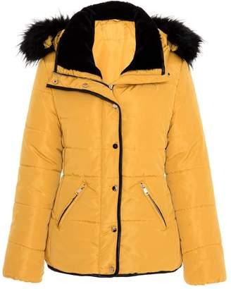 Quiz Mustard Padded Faux Fur Trim Jacket