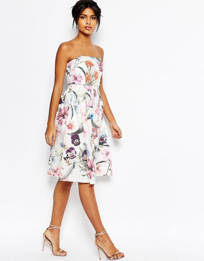 AsosASOS Bandeau Crop Top Midi Prom Dress In Large Bouquet Floral