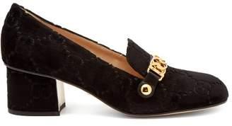Gucci Sylvie Logo Debossed Velvet Loafers - Womens - Black