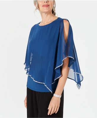 MSK Embellished Chiffon-Overlay Top