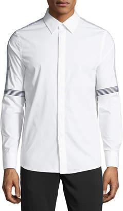 Karl Lagerfeld Paris Men's Tape-Striped Poplin Sport Shirt