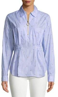 Derek Lam 10 Crosby Embellished Pinstripe Collared Shirt