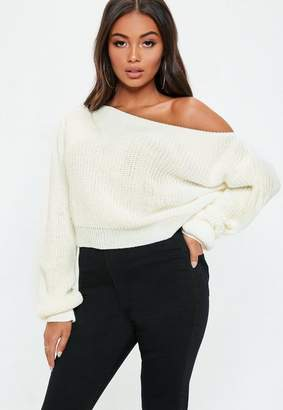 Missguided Cream Off Shoulder Cropped Sweater