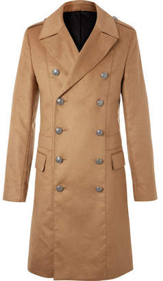 Balmain Slim-Fit Double-Breasted Faux Suede Coat - Camel