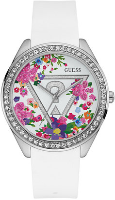 GUESS Women's White Silicone Strap Watch 43mm U0904L1 $95 thestylecure.com