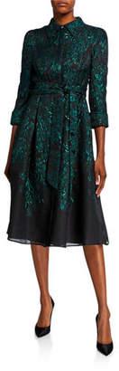 Rickie Freeman For Teri Jon 3/4-Sleeve Burnout Jacquard Shirtdress
