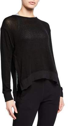 Alala Crane Knit Side-Split Pullover Sweatshirt