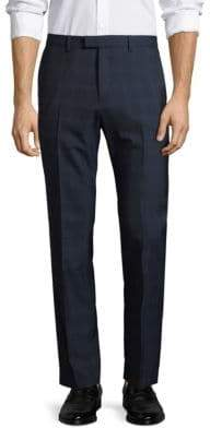 Theory Slim-Fit Checkered Wool Pants