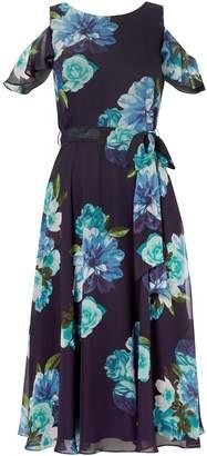 Eliza J Printed floral midi dress with cold shoulder
