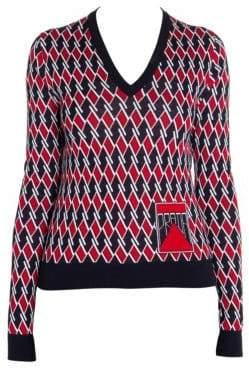 Prada Lana Pettinata Jacquard Argyle V-Neck Wool Sweater