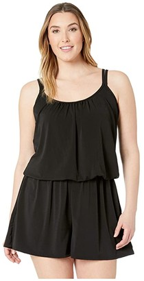 Maxine Of Hollywood Swimwear Plus Size Solids Tricot Romper One-Piece