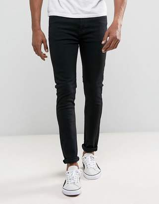 Dr. Denim Leon Slim Drop Crotch Black Rinse Wash Jean