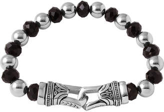 JCPenney FINE JEWELRY Mens Crystal and Stainless Steel Bead Bracelet