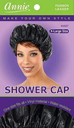 Shower Cap - Black, Vinyl material, elastic band, extra large, large, won't fall off your head, $3.99 thestylecure.com