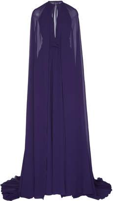 Dundas Silk Georgette Cape Gown With Belt