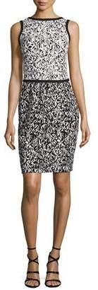 Oscar de la Renta Bicolor Floral Sleeveless Dress, Black/White