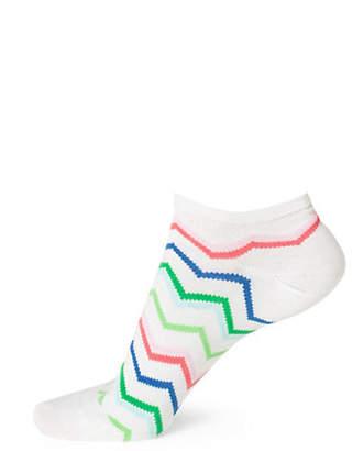 BLEU FORET Womens Mini Zigzag Ped Socks