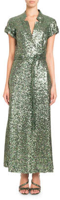Pascal Millet Short-Sleeve Notched-Collar Sequin Wrap Evening Gown