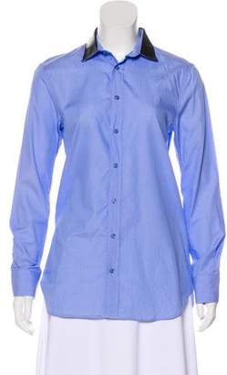 Each X Other Faux Leather-Trimmed Button-Up Top