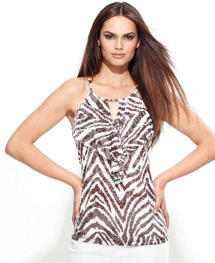 INC International Concepts INC Petite Top, Sleeveless Keyhole Zebra-Print