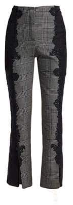Jonathan Simkhai Lace Appliqué Plaid Pants