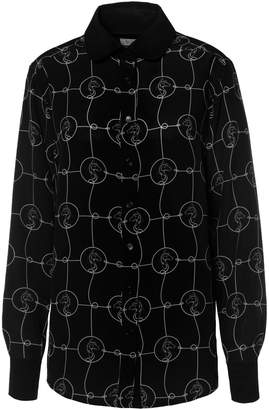 White Horse Somerville . Rodeo Blouse In Black with Print
