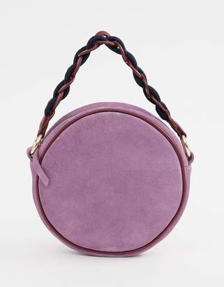 Asos Design DESIGN suede circle bag with statement strap