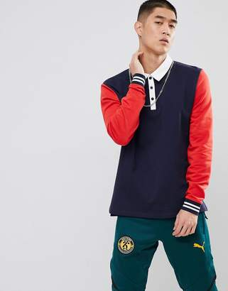 Asos DESIGN Rugby Sweatshirt With Color Blocking And Woven Collar