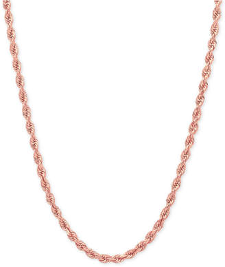 Macy's Rope Chain Necklace (2-1/2mm) in 14k Rose Gold