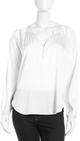Vince Silk Peasant Blouse, Off White