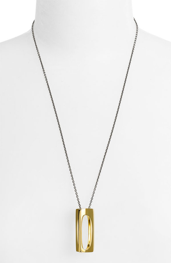 Elizabeth and James 'Architecture' Square Pendant Necklace